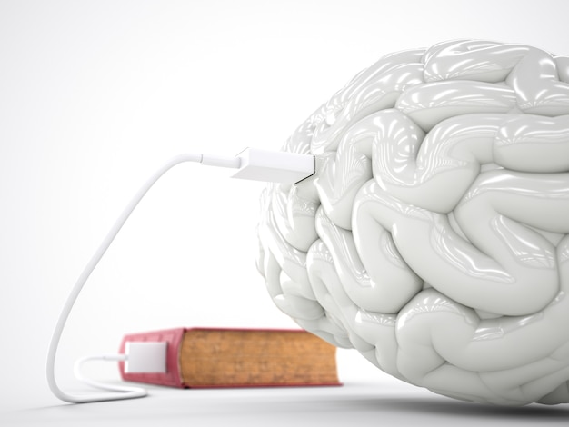 Book charging brain concept