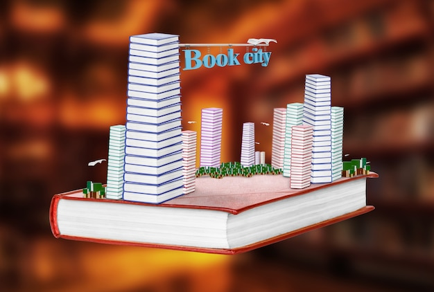 Book a city on an isolated background. the concept of the pursuit of knowledge.