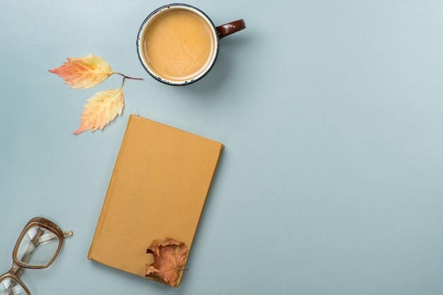 Book and coffee. autumn concept.