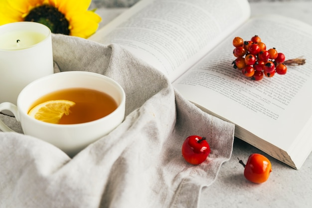 Book and cup with lemon tea in composition
