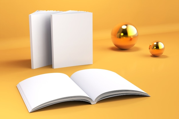 Book empty spread mockup 3d render illustration of opened clear notepad template setting on yellow