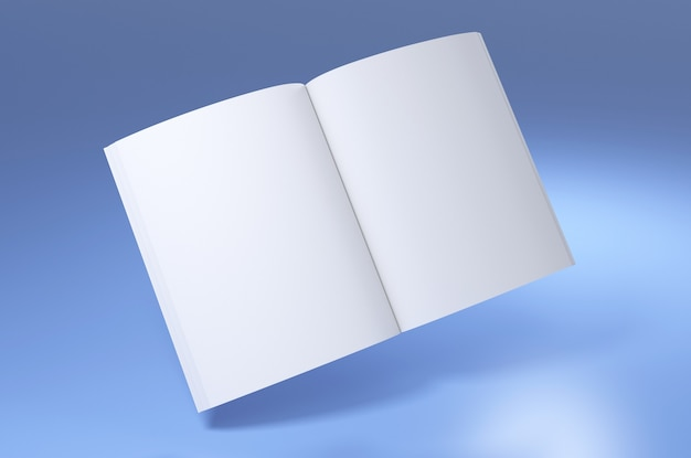 Book empty spread white mockup 3d render illustration of opened clear notepad template blue color