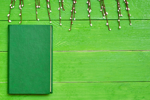 A book in a hard green cover on a green wooden background and willow branches. top view. copy space
