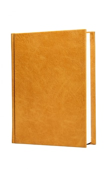 The book is in a bright brown hard leather cover