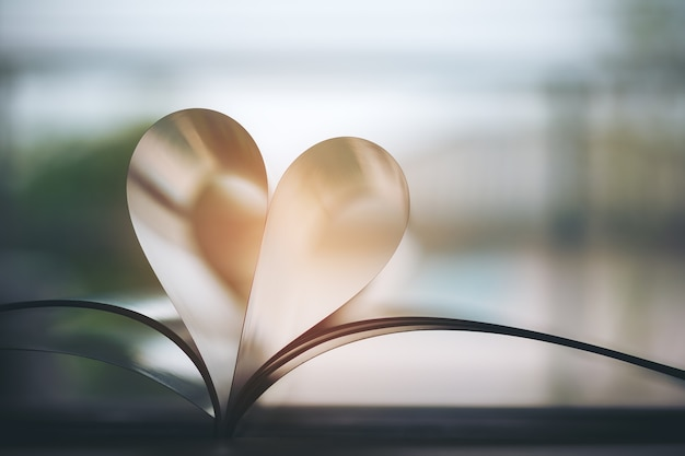 Book making heart sign