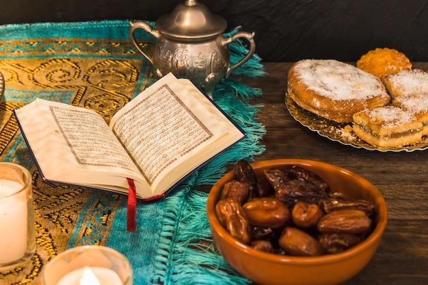 Book on mat amidst arabic desserts