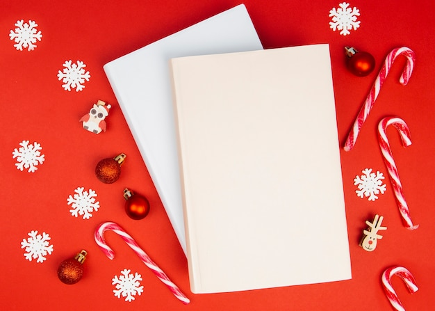 Book mock-up with christmas decorations