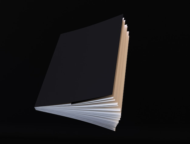 Book mockup cover black notepad with realistic ajar pages diary face side sketchpad template
