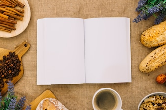 Book mockup with breakfast decoration