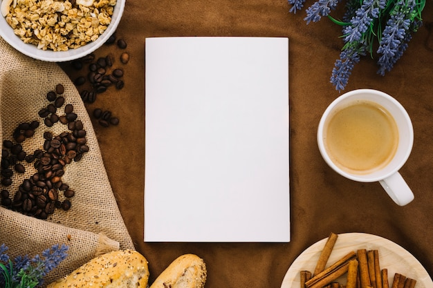Book mockup with coffee beans