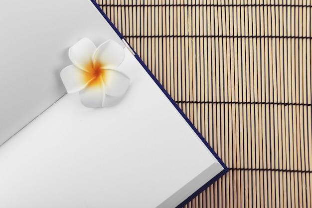 Книга на бамбуковом коврике