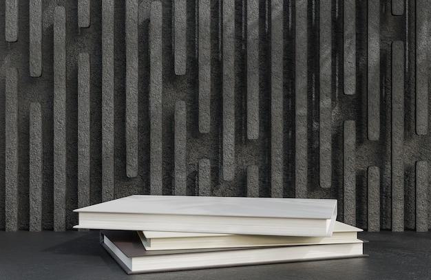 石の壁の背景の豪華なスタイルの製品プレゼンテーションのための本の表彰台。、3dモデルとイラスト。