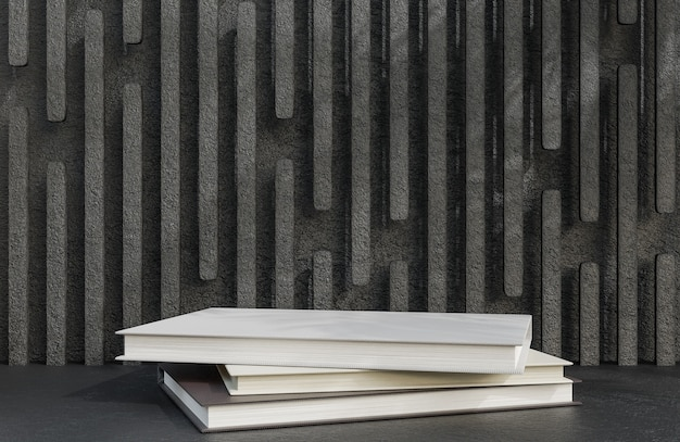 Book podium for product presentation on stone wall background luxury style.,3d model and illustration.