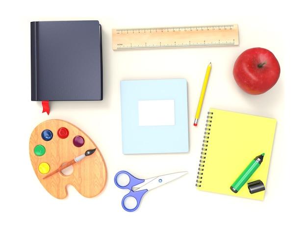 책, 가위, 사과 연필, 마커 흰색 배경에 고립