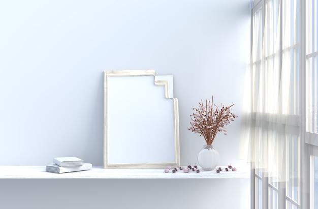 白いリビングルームのインテリア、窓、バラ、ドレープ、カーテン、モックアップ、額縁、book.sun輝いています。 3