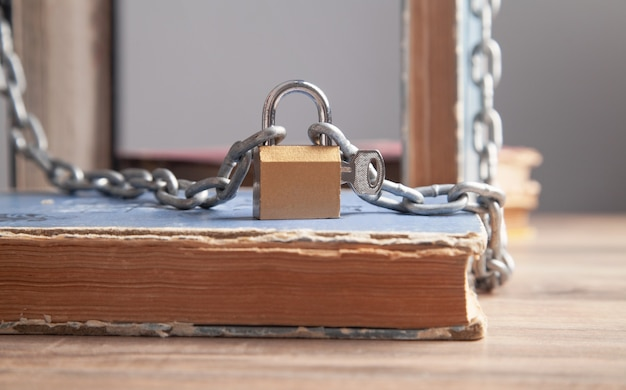 Book with chain and padlock. information security