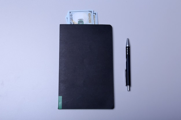 Book with money and pen top view