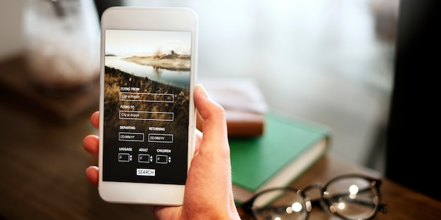 Booking flight travel website concept