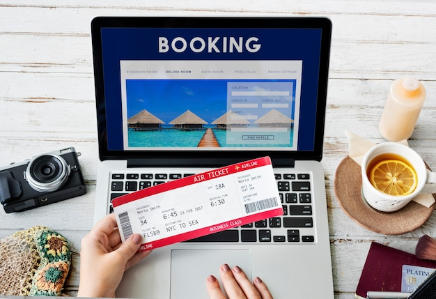Prenotazione prenotazione hotel destinazione di viaggio concept