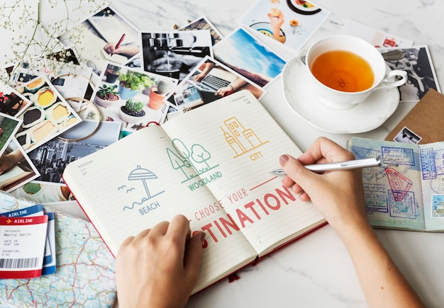 Booking hotel reservation travel destination concept