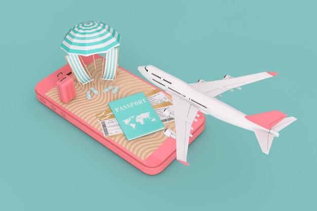 オンラインチケットのコンセプトを予約します。緑の背景にパスポート、チケット、砂のトロピカルビーチと携帯電話で飛んでいる白いジェット旅客機。 3dレンダリング