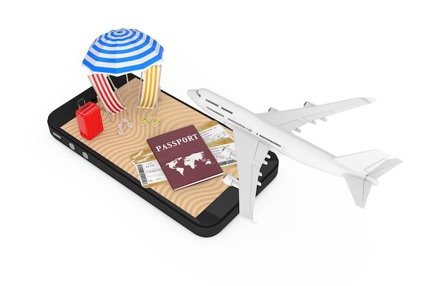 オンラインチケットのコンセプトを予約します。白い背景にパスポート、チケット、砂のトロピカルビーチと携帯電話で飛んでいる白いジェット旅客機。 3dレンダリング