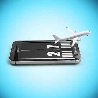 航空券のオンラインコンセプトの予約または購入。滑走路と飛行機を備えたスマートフォンまたは携帯電話。 3d