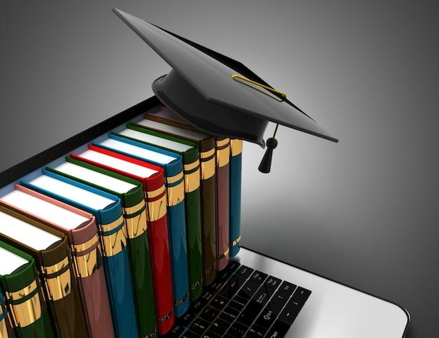 책과 노트북 전자 학습 3d 개념에 졸업 모자. 3d 일러스트레이션