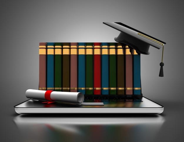 Книги и выпускной колпачок на ноутбуке - 3d концепции электронного обучения. 3d иллюстрации