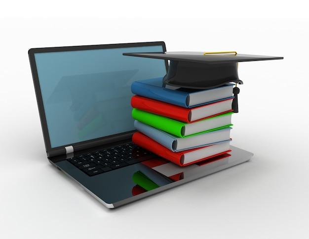 Книги и выпускной колпачок на ноутбуке - 3d концепция электронного обучения в дизайне соответствующей информации для получения знаний в интернете. 3d иллюстрация