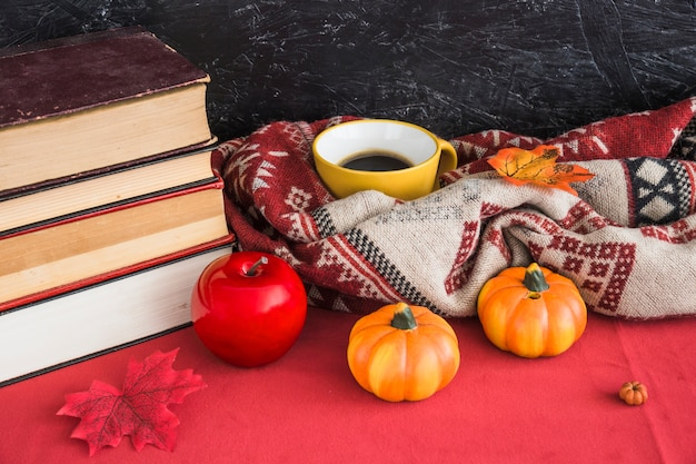 Books and artificial fruits near blanket and beverage