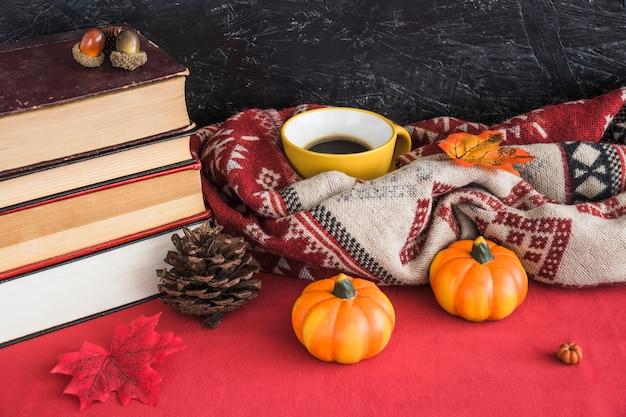 Books and autumn symbols near blanket and mug