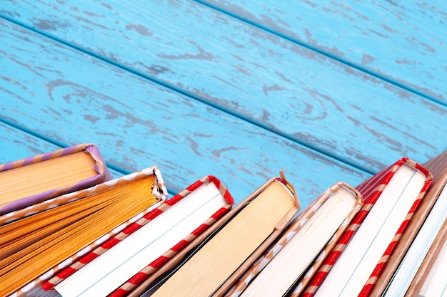 Books on blue wooden