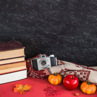 Books and fake fruits near blanket and camera