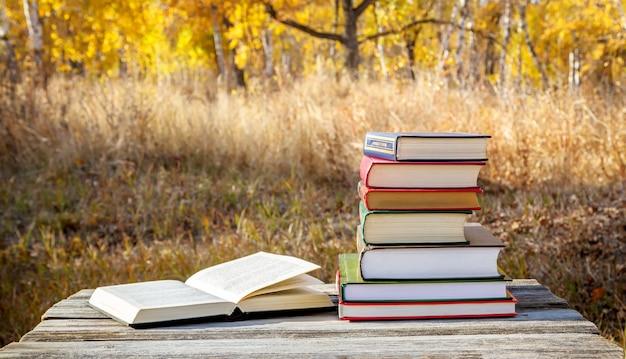 Книги в стопке на деревянном столе в осеннем парке.