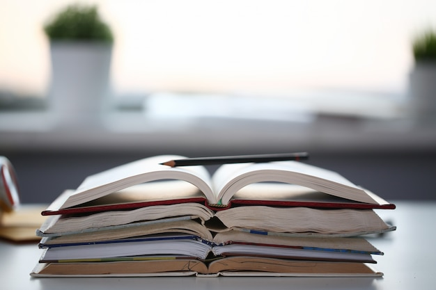 Books lie on the table in office at home