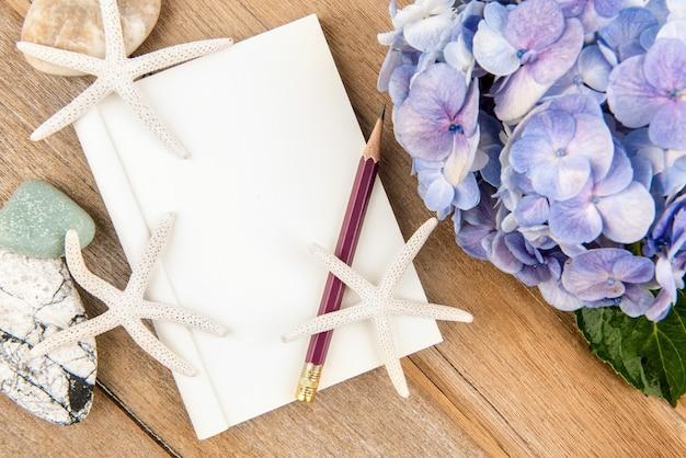 책, 연필, 불가사리 및 수국 꽃 흰색 절연. 교육 개념.