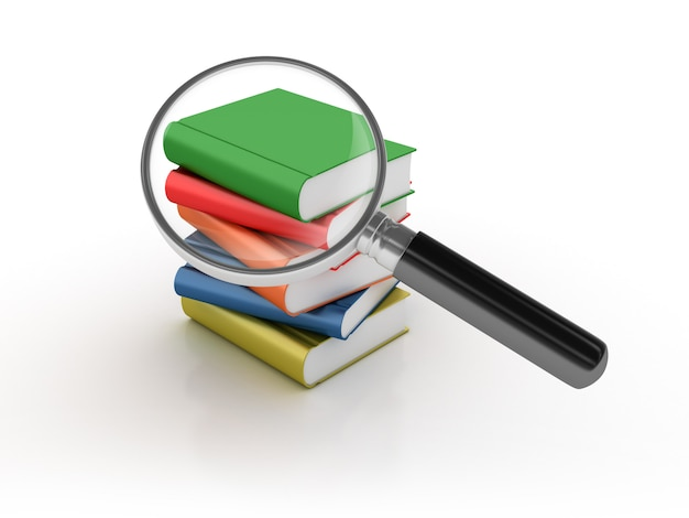 Books search with magnifying glass