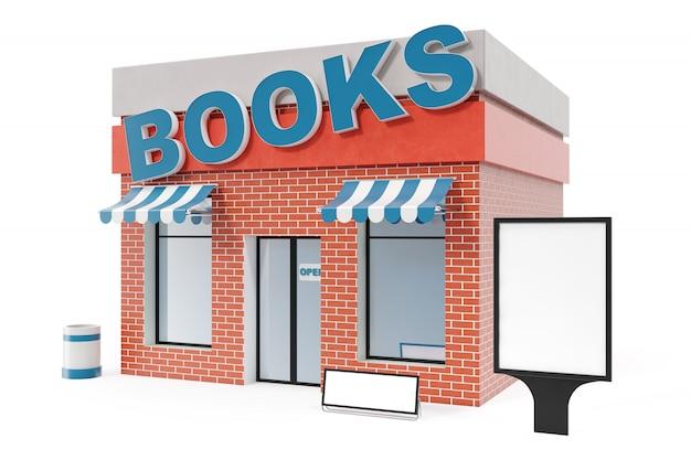 Книжный магазин с копией пространства борту на белом фоне. современные цеха здания, магазинные фасады. внешний рынок. внешний фасад магазина, 3d рендеринг