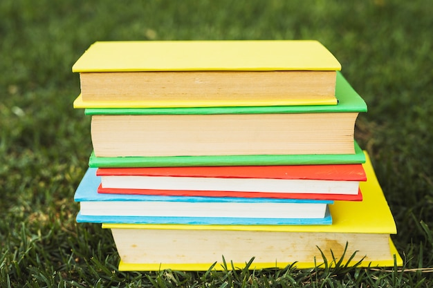 Books with blank bright covers on grass