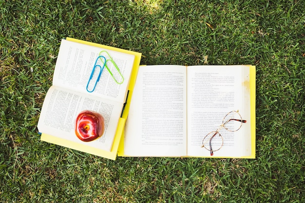 Books with glasses and apple on grass