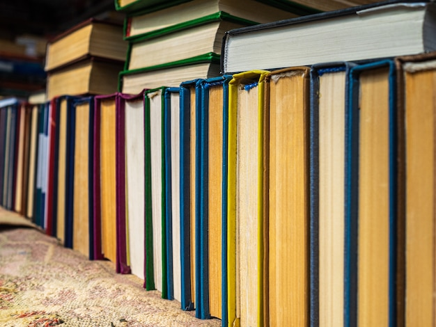 Books with yellowed pages in hardcover. dirty pages of old books