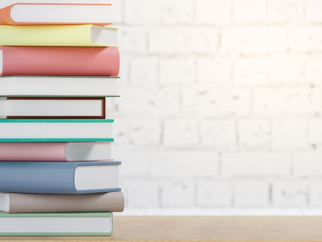 Books on wooden table, back to school concept 3d rendering