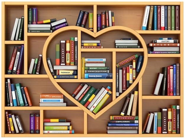 ハートの形の本や教科書が入った本棚