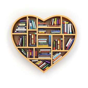 Книжная полка с книгами и учебниками в форме сердца