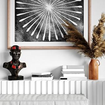Книжная полка с декором. 3d-рендеринг. традиционный африканский орнамент и женские украшения.