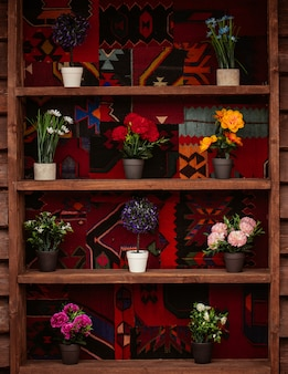 A bookshelf with pots of mixed natural flowers