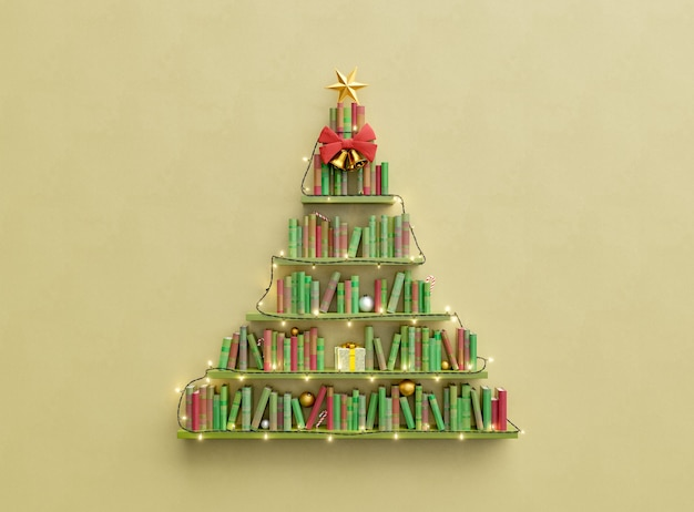 Bookshelves with books in the shape of christmas tree