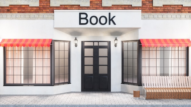 Bookstore or library. exterior of a building near the road.