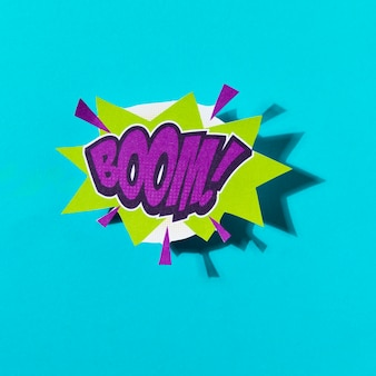 Boom comic text colored pop art style sound effect